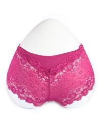 Maroon Floral Lace BoyShort Panty with Cotton Patch