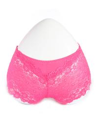 Hot Pink Floral Lace Boy Short Panty with Cotton Patch
