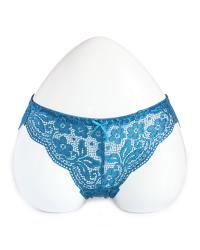 Peacock Blue Floral Lace Panty