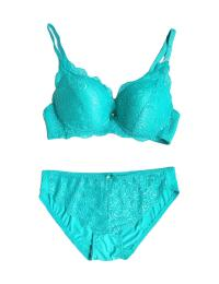 Green Lace Design Bra and Panty Set