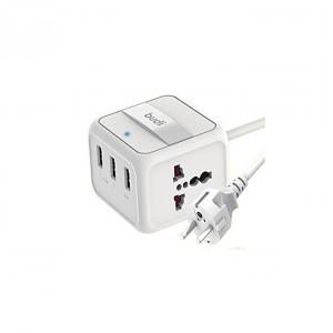 Budi Home Charger 3 USB Ports With 2 General Socket (1.8M/6FT)-White