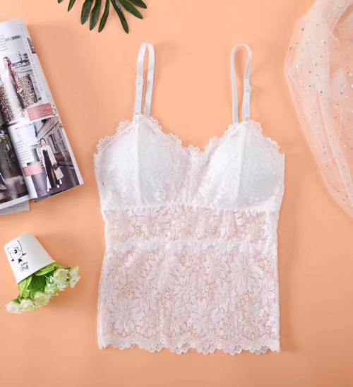 White Net Floral Print Camisole