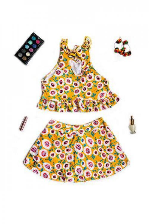 Yellow Floral Two Piece Swimsuit